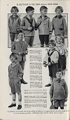 view [Nine young boys modeling clothes : black-and-white advertisement] digital asset: [Nine young boys modeling clothes : black-and-white advertisement].