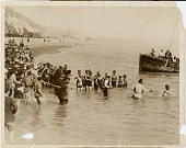 view [Corson completing the English Channel swim with large crowd watching, black & white photoprint] digital asset: [Corson completing the English Channel swim with large crowd watching, black & white photoprint].