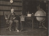 view [Edison with voice recording machine and large globe, black & white photoprint] digital asset: [Edison with voice recording machine and large globe, black & white photoprint]