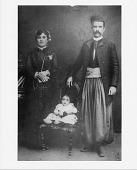 view [Sultana Alkazin, nee Mohawigh, with unnamed husband and son Fred, Beirut, Iraq: black & white photoprint] digital asset: [Sultana Alkazin, nee Mohawigh, with unnamed husband and son Fred, Beirut, Iraq: black & white photoprint]