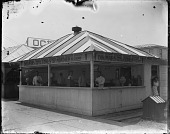 view Doumar's famous pure food cones filled with Montauk ice cream: glass plate black-and-white negative] digital asset: Doumar's famous pure food cones filled with Montauk ice cream: glass plate black-and-white negative]