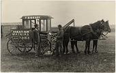 view [Peddler F. S. Skaff selling Watkins remedies to North Dakota homesteaders from a horse drawn wagon: b&w photoprint postcard] digital asset: [Peddler F. S. Skaff selling Watkins remedies to North Dakota homesteaders from a horse drawn wagon: b&w photoprint postcard]