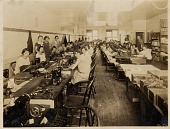 view [Room of women at sewing machines: b&w photoprint] digital asset: [Room of women at sewing machines: b&w photoprint]
