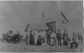 view [Peddler Ferris. S. Skaff selling Watkins remedies to North Dakota homesteaders from a horse drawn wagon: b&w photoprint] digital asset: [Peddler Ferris. S. Skaff selling Watkins remedies to North Dakota homesteaders from a horse drawn wagon: b&w photoprint]