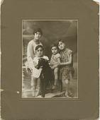 view [Selma (sister of Faris Ghanlous), Alexa, Michael, Deanna Ghanlous (Faris's children): black & white photoprint] digital asset: [Selma (sister of Faris Ghanlous), Alexa, Michael, Deanna Ghanlous (Faris's children): black & white photoprint].