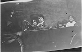 view [Ms. Ghantous and others in a car : black & white photoprint] digital asset: [Ms. Ghantous and others in a car : black & white photoprint].