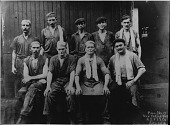 view [Nine man crew from steel mill in New Castle, Pennsylvania: black & white photoprint] digital asset: [Nine man crew from steel mill in New Castle, Pennsylvania: black & white photoprint].