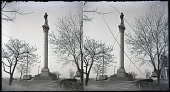 view [Statue of man standing on tall column.] Stereo photonegative digital asset: [Statue of man standing on tall column.] Stereo photonegative.
