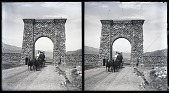 view Entering Yellowstone National Park--passing through new Lava Entrance Arch at Gardiner, Mont. [Active no. 12003 : stereo photonegative,] digital asset: Entering Yellowstone National Park--passing through new Lava Entrance Arch at Gardiner, Mont. [Active no. 12003 : stereo photonegative,] 1904.
