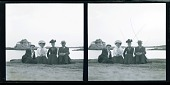 view [Two couples posing on bank of river with house in background. Stereo photonegative.] digital asset: [Two couples posing on bank of river with house in background. Stereo photonegative.]