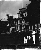 view [Presid]ent's Palace, Honolulu, Hawaiian Islands. Copyright 1896 by Strohmeyer & Wyman. [Printed label on negative.] [Caption No. 24231? : stereoscopic photonegative,] digital asset: [Presid]ent's Palace, Honolulu, Hawaiian Islands. Copyright 1896 by Strohmeyer & Wyman. [Printed label on negative.] [Caption No. 24231? : stereoscopic photonegative,] 1896.