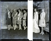 view [Six women dressed in fashionable outfits pose for the camera] Photonegative digital asset: [Six women dressed in fashionable outfits pose for the camera] Photonegative