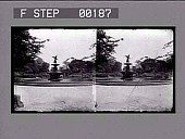view [Water fountain in park in New York City : stereoscopic photonegative.] digital asset: [Water fountain in park in New York City : stereoscopic photonegative.]