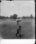 view [Golfer in knickers outdoors, swinging. Active No. 10115, non-stereo photonegative.] digital asset: [Golfer in knickers outdoors, swinging. Active No. 10115, non-stereo photonegative.]