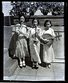 view [Three Asian girls with musical instruments.] : photonegative digital asset: [Three Asian girls with musical instruments.] : photonegative.