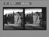 view [Corner building, 3 stories plus 4th-floor dormers and flag : glass stereoscopic photonegative.] digital asset: [Corner building, 3 stories plus 4th-floor dormers and flag : glass stereoscopic photonegative.]