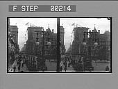 view [Busy city street : stereo photonegative,] digital asset: [Busy city street : stereo photonegative,] 1909.