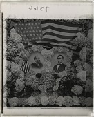 view [Portraits of Presidents Lincoln and Grant surrounded by flags and flowers.] 7366 interpositive digital asset: [Portraits of Presidents Lincoln and Grant surrounded by flags and flowers.] 7366 interpositive.