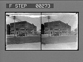 view [View of low city building from street. Stereo photonegative,] digital asset: [View of low city building from street. Stereo photonegative,] 1905.
