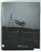 view The Wright aeroplane in flight, Fort Myer. [Active no. 10577 : non-stereo interpositive.] digital asset: The Wright aeroplane in flight, Fort Myer. [Active no. 10577 : non-stereo interpositive.]