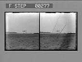 view [Long view of early airplane landing : stereo photonegative,] digital asset: [Long view of early airplane landing : stereo photonegative,] 1909.