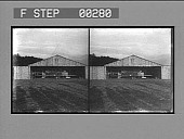 view [Early airplane in hangar.] Stereo photonegative digital asset: [Early airplane in hangar.] Stereo photonegative, 1909.