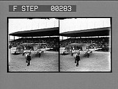 view Forman's airship. [Early airplane moved before stadium crowd : stereo photonegative.] digital asset: Forman's airship. [Early airplane moved before stadium crowd : stereo photonegative.]