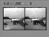 view [Tourists viewing Niagara Falls : stereo photonegative.] digital asset number 1