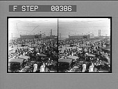 view Great holiday crowds watching the annual baby parade. [Active no. 426 : stereo photonegative.] digital asset: Great holiday crowds watching the annual baby parade. [Active no. 426 : stereo photonegative.]