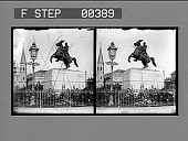 view Jackson Square, Old Cathedral and Court House, New Orleans, La. [Active no. 800 : stereo hotonegative.] digital asset: Jackson Square, Old Cathedral and Court House, New Orleans, La. [Active no. 800 : stereo hotonegative.]