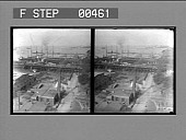 view Overlooking the wharves at Newport News on the famous Hampton Roads, Virginia. 881 photonegative digital asset: Overlooking the wharves at Newport News on the famous Hampton Roads, Virginia. 881 photonegative, 1906.