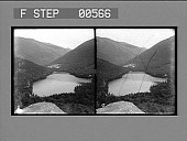 view [Overview of lake in mountain valley.] Stereo photonegative digital asset: [Overview of lake in mountain valley.] Stereo photonegative.