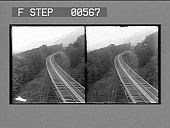 view [Double railroad tracks up mountain side.] Stereo photonegative digital asset: [Double railroad tracks up mountain side.] Stereo photonegative.