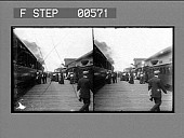 view [Passengers on platform between train and station house.] Stereo photonegative digital asset: [Passengers on platform between train and station house.] Stereo photonegative.