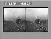 view [Train in mountain forest area.] Stereo photonegative digital asset: [Train in mountain forest area.] Stereo photonegative.
