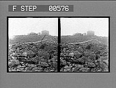 view [Rugged buildings atop rocky area.] Stereo photonegative digital asset: [Rugged buildings atop rocky area.] Stereo photonegative.