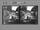 view [River rapids and bridge in rugged rocky area.] Stereo photonegative digital asset: [River rapids and bridge in rugged rocky area.] Stereo photonegative.