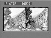 view [Rail line through rugged rocky canyon. Stereo photonegative digital asset: [Rail line through rugged rocky canyon. Stereo photonegative.