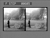 """view """"Line of the minute men,"""" the Common--scene of the Battle of Lexington. Active no. 12835. Stereo photonegative digital asset: """"Line of the minute men,"""" the Common--scene of the Battle of Lexington. Active no. 12835. Stereo photonegative."""