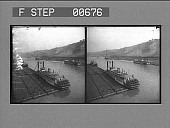 view Loaded coal barges and steamers on the Monongahela River. Active no. 13224 : stereo photonegative digital asset: Loaded coal barges and steamers on the Monongahela River. Active no. 13224 : stereo photonegative, 1906.