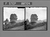 view Balanced Rock and Observation Point, Garden of the Gods. [Active no. 12360 : stereo photonegative,] digital asset: Balanced Rock and Observation Point, Garden of the Gods. [Active no. 12360 : stereo photonegative,] 1904.