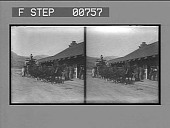 view Stage for Mammoth Hot Springs loading at Gardiner, Mont. Ry. Station. [Active no. 12002 : stereo photonegative,] digital asset: Stage for Mammoth Hot Springs loading at Gardiner, Mont. Ry. Station. [Active no. 12002 : stereo photonegative,] 1904.