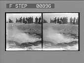 view [Tourists viewing hot springs area : stereo photonegative,] digital asset: [Tourists viewing hot springs area : stereo photonegative,] 1904.