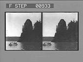 view [Small boat on river : stereo photonegative,] digital asset: [Small boat on river : stereo photonegative,] 1904.