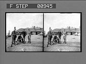 view [Four climbers pose near mountain building : stereo photonegative,] digital asset: [Four climbers pose near mountain building : stereo photonegative,] 1904.