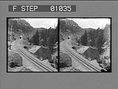 view Train descending Pike's Peak on the famous Cog Railway. [Active no. 12401 : stereo photonegative,] digital asset: Train descending Pike's Peak on the famous Cog Railway. [Active no. 12401 : stereo photonegative,] 1905.
