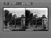 view [Honolulu; front view of Palace with U.S. Flag at half staff. Stereo photonegative.] digital asset: [Honolulu; front view of Palace with U.S. Flag at half staff. Stereo photonegative.]