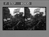 view Labor Day parade in Rutland. [Stereo photonegative.] digital asset: Labor Day parade in Rutland. [Stereo photonegative.]