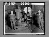 view Thomas Edison and his original dynamo, Edison Works, Orange, N.J. [Active no. 13002 : stereo photonegative.] digital asset: Thomas Edison and his original dynamo, Edison Works, Orange, N.J. [Active no. 13002 : stereo photonegative.]