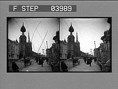 view Curious wreck of Steiner Street Catholic Church and settled houses. Active no. 8715 : stereo photonegative digital asset: Curious wreck of Steiner Street Catholic Church and settled houses. Active no. 8715 : stereo photonegative, 1906.